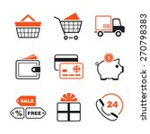 shopping simple icon set   cart ... | Shutterstock . vector #270798383