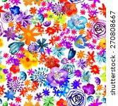 seamless watercolor flowers.... | Shutterstock .eps vector #270808667