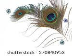 Two Peacock Feathers And  Thre...