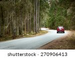 Asphalt Road On Cloudy Spring...