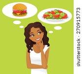 beautiful black woman choosing...   Shutterstock .eps vector #270915773