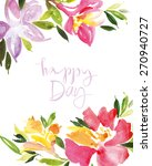 watercolor flower wreath.... | Shutterstock .eps vector #270940727