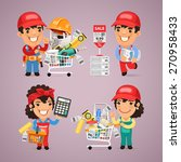 workers purchases materials in... | Shutterstock .eps vector #270958433