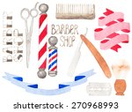 barber shop set. hand drawn... | Shutterstock .eps vector #270968993