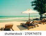 bed beach on tropical beach  ... | Shutterstock . vector #270974573
