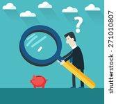 businessman examining  piggy... | Shutterstock .eps vector #271010807