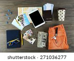 set of travel things on wooden... | Shutterstock . vector #271036277