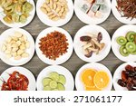 different products on saucers... | Shutterstock . vector #271061177