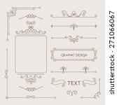 Set of vintage decorations elements. Flourishes calligraphic ornaments and frames. Logo & polygraphy design. Vector illustration | Shutterstock vector #271066067