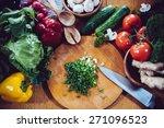 fresh spring vegetables on the...   Shutterstock . vector #271096523