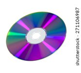 Cd Or Dvd Disk On White...