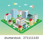 flat 3d isometric city. set of... | Shutterstock .eps vector #271111133