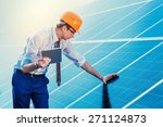 engineer at solar power station ... | Shutterstock . vector #271124873