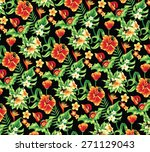 tropical pattern with flowers... | Shutterstock .eps vector #271129043
