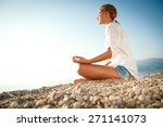 young woman doing meditation in ... | Shutterstock . vector #271141073