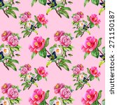 vintage floral seamless on pink ... | Shutterstock .eps vector #271150187