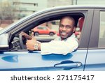 Car Side Window. Man Driver...