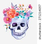 watercolor flowers and skull... | Shutterstock . vector #271214057