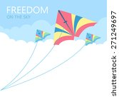three kites in the sky with... | Shutterstock .eps vector #271249697