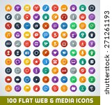 mega web and media flat icon set
