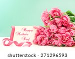 Pink Tulips And Greeting Card...