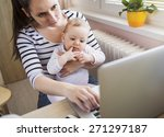 young mother in home office... | Shutterstock . vector #271297187