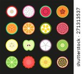 fruit slice flat  vector design ... | Shutterstock .eps vector #271313537