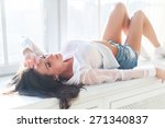 gorgeous caucasian pretty girl... | Shutterstock . vector #271340837