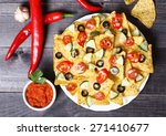 mexican hot nachos with... | Shutterstock . vector #271410677