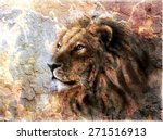 beautiful  painting of a lion... | Shutterstock . vector #271516913