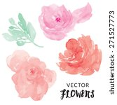 watercolor vector flowers.... | Shutterstock .eps vector #271527773