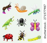 set of cute cartoon insects | Shutterstock . vector #271577987