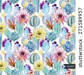 watercolor  cactus  pattern ... | Shutterstock .eps vector #271589957