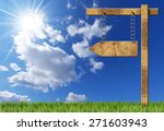 wooden directional sign   one...