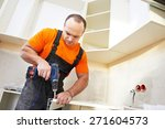craftsman kitchen carpenter at... | Shutterstock . vector #271604573