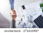 contractor and customer shaking ... | Shutterstock . vector #271610987