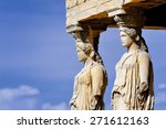 Small photo of Caryatides, Erechtheion temple Acropolis in Athens, Greece