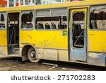 Old Dirty Yellow Bus With...