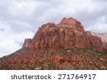 sandstone mountains in zion... | Shutterstock . vector #271764917