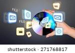 cd  human hand  cd rom. | Shutterstock . vector #271768817