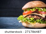 beef cheeseburger with grilled... | Shutterstock . vector #271786487