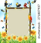 Wooden Frame With Many Birds...