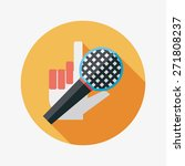 microphone flat icon with long...