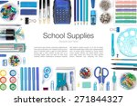 school supplies on white... | Shutterstock . vector #271844327