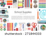 school supplies on white... | Shutterstock . vector #271844333