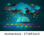 Umbrella With Heavy Fall Rain...
