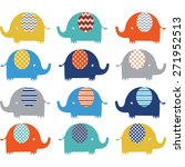 colorful cute  elephant... | Shutterstock .eps vector #271952513