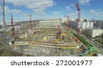 Small photo of MOSCOW, RUSSIA - APRIL 05, 2014: Construction site of NTV company telecentre near Ostankinskaya TV tower at spring sunny day, aerial view