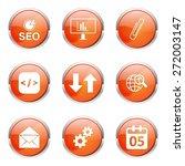 Seo Internet Sign Orange Vecto...