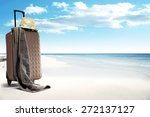 hat suitcase and brown towel of ... | Shutterstock . vector #272137127